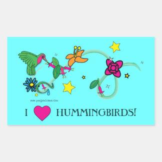 I Love Hummingbirds! Rectangular Sticker