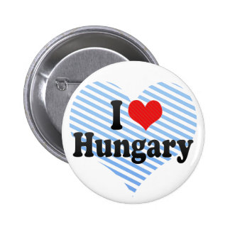 I Love Hungary Pinback Buttons