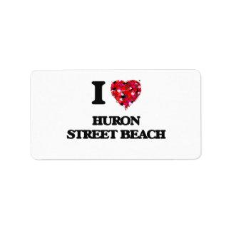 I love Huron Street Beach Michigan Address Label