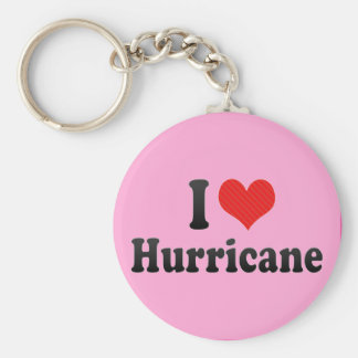 I Love Hurricane Basic Round Button Keychain
