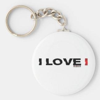 i love i basic round button keychain