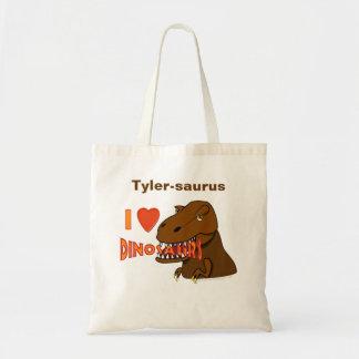 I Love I Heart Dinosaurs Cartoon Tyrranosaurus Rex Budget Tote Bag