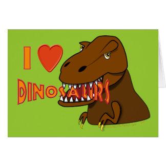 I Love I Heart Dinosaurs Cartoon Tyrranosaurus Rex Card