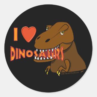 I Love I Heart Dinosaurs Cartoon Tyrranosaurus Rex Classic Round Sticker