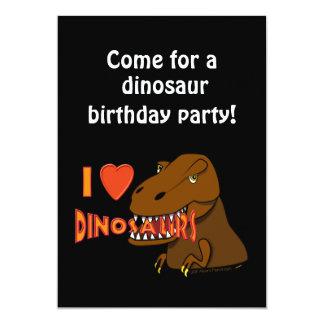 I Love I Heart Dinosaurs Cartoon Tyrranosaurus Rex 5x7 Paper Invitation Card