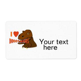 I Love I Heart Dinosaurs Cartoon Tyrranosaurus Rex Label