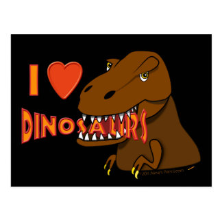 I Love I Heart Dinosaurs Cartoon Tyrranosaurus Rex Postcard