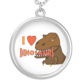 I Love I Heart Dinosaurs Cartoon Tyrranosaurus Rex Round Pendant Necklace