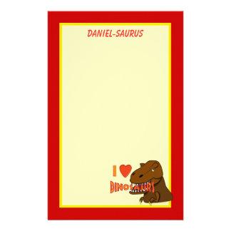 I Love I Heart Dinosaurs Cartoon Tyrranosaurus Rex Stationery Paper