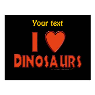 I Love (I Heart) Dinosaurs Dinosaur Lover Red Postcard