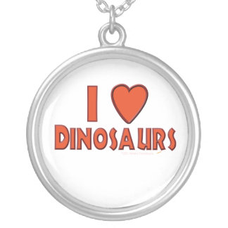 I Love (I Heart) Dinosaurs Dinosaur Lover Red Round Pendant Necklace