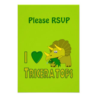 I Love (I Heart) Triceratops Cute Dinosaur Personalized Announcements