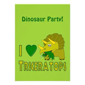 I Love (I Heart) Triceratops Cute Dinosaur Custom Invite