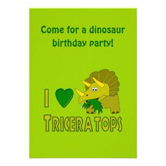 I Love (I Heart) Triceratops Cute Dinosaur Custom Invitation
