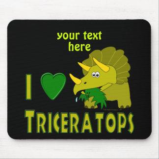 I Love (I Heart) Triceratops Cute Dinosaur Mouse Pad