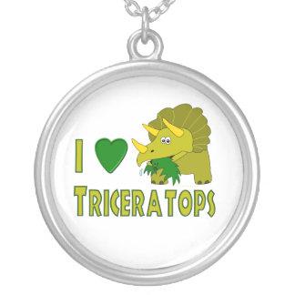 I Love (I Heart) Triceratops Cute Dinosaur Round Pendant Necklace