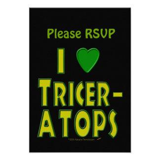 I Love (I Heart) Triceratops Dinosaur Green Custom Invites