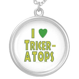 I Love (I Heart) Triceratops Dinosaur Green Round Pendant Necklace