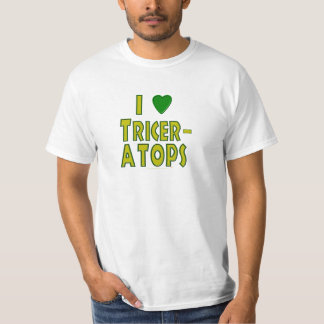 I Love (I Heart) Triceratops Dinosaur Green T-Shirt