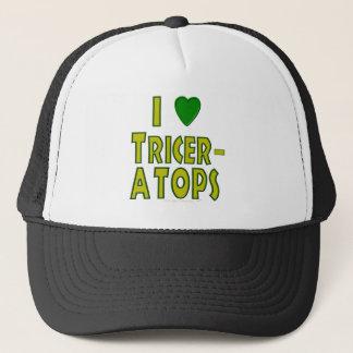 I Love (I Heart) Triceratops Dinosaur Green Trucker Hat