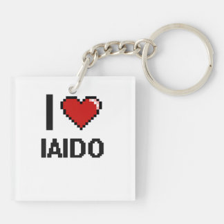I Love Iaido Digital Retro Design Double-Sided Square Acrylic Keychain