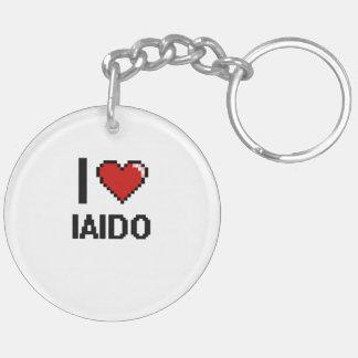 I Love Iaido Digital Retro Design Double-Sided Round Acrylic Keychain