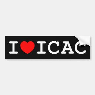 I Love ICAC Bumper Sticker (dark) Car Bumper Sticker