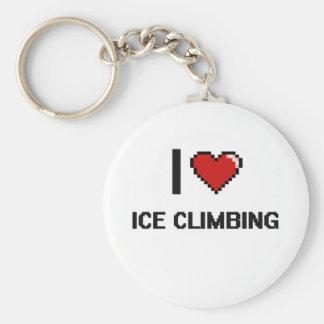 I Love Ice Climbing Digital Retro Design Basic Round Button Keychain