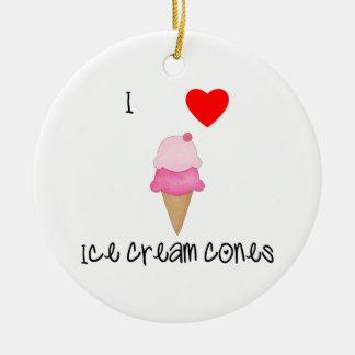 I love ice cream cones ceramic ornament