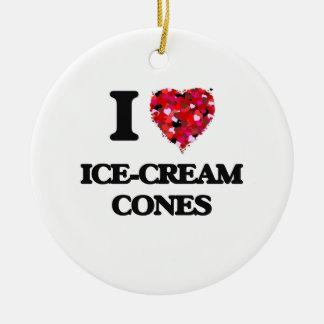 I Love Ice-Cream Cones Double-Sided Ceramic Round Christmas Ornament