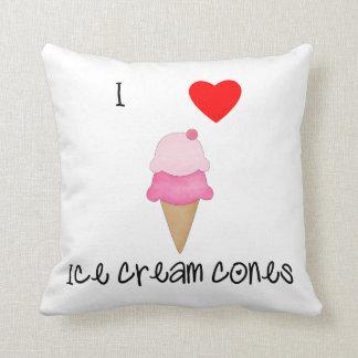 I love ice cream cones throw pillow