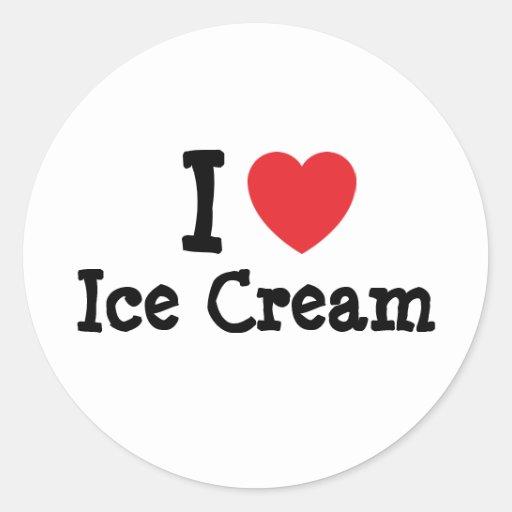 I love Ice Cream heart T-Shirt Classic Round Sticker