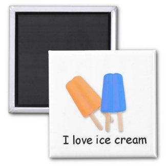 I love ice cream Orange and Blue Twin Pops Magnet