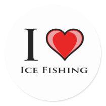 I Love Ice Fishing Classic Round Sticker