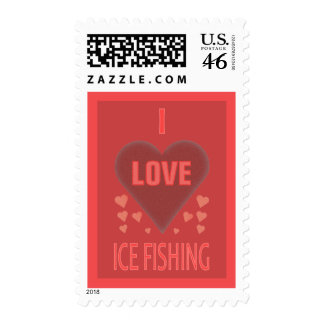 I Love Ice Fishing Postage Stamps