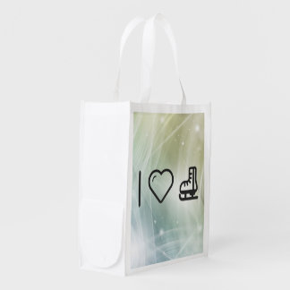 I Love Ice Skate Reusable Grocery Bags