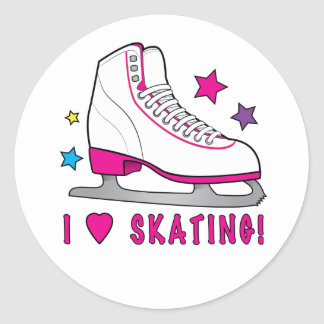 I Love Ice Skating! Classic Round Sticker
