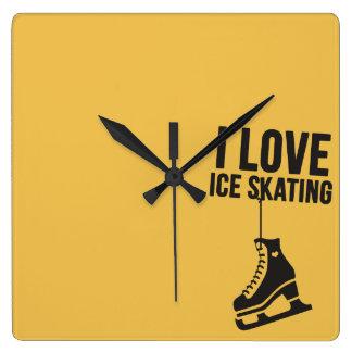 I Love Ice Skating ( figure skating ) Square Wall Clock