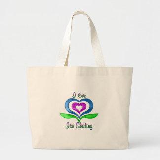 I Love Ice Skating Hearts Jumbo Tote Bag