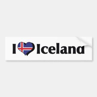 I Love Iceland Flag Bumper Sticker
