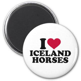 I love Iceland horses 2 Inch Round Magnet