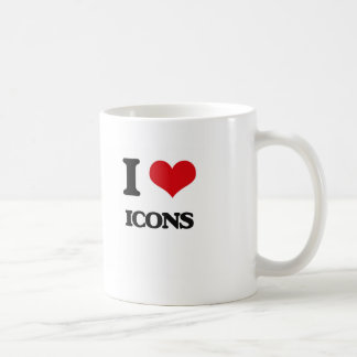 I love Icons Classic White Coffee Mug