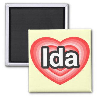I love Ida. I love you Ida. Heart 2 Inch Square Magnet