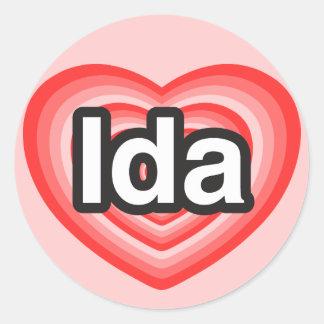 I love Ida. I love you Ida. Heart Classic Round Sticker