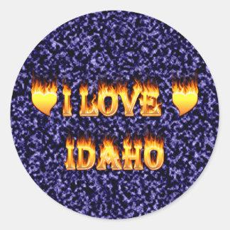 I love idaho fire and flames round sticker