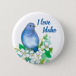 I Love Idaho Mountain Bluebird Mock Orange Pinback Button