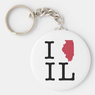 I Love Illinois Basic Round Button Keychain