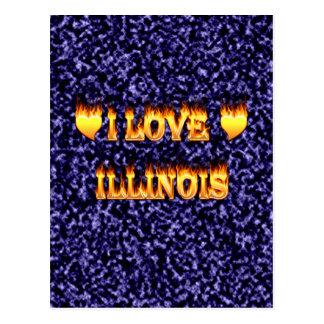 I love illinois fire and flames postcard