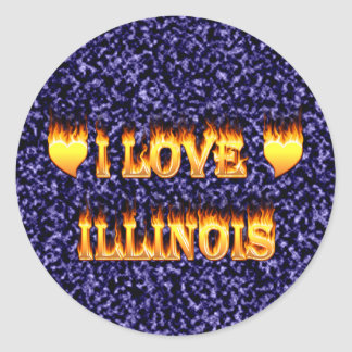 I love illinois fire and flames stickers