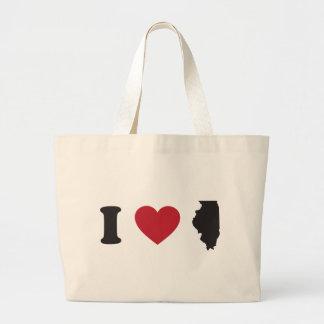 I Love Illinois Large Tote Bag